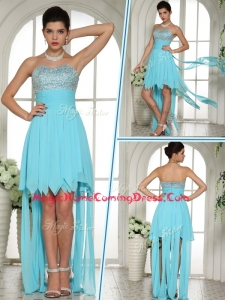 Wonderful Sweetheart High Low Beading and Paillette Homecoming Dress in Aqua Blue