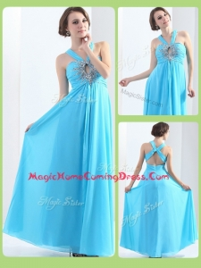 Affordable Halter Top Criss Cross Homecoming Dresses with Beading