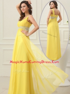 Cheap Empire One Shoulder Beading Homecoming Dress in Yellow
