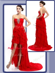 Cheap High Low Beading and Ruffled Layers Homecoming Dresses in Red