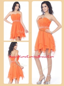 Cheap Sweetheart Beading and Ruching Short Homecoming Dresses in Orange