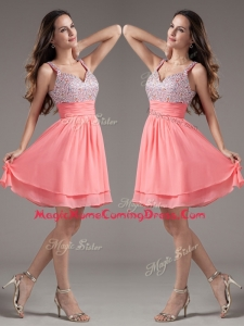 Discount Straps Beading Short Watermelon Homecoming Dresses