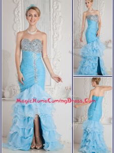 Gorgeous Mermaid Sweetheart Beading and Ruffled Layers Aqua Blue Homecoming Dresses