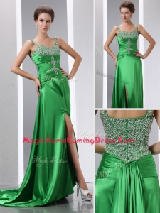 Luxurious Column Beading and High Slit Homecoming Dresses with Court Train