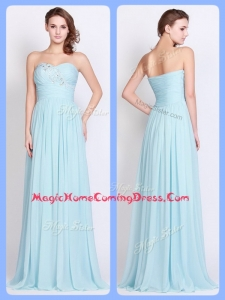 New Style Brush Train Light Blue Homecoming Dresses with Beading and Ruching