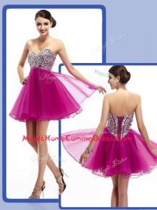 Perfect Sweetheart Fuchsia Short Homecoming Dresses with Beading