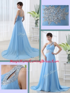Sweet One Shoulder Brush Train Beading Homecoming Dress with Lace Up