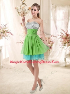 2016 Affordable Sweetheart Short Homecoming Dresses with Sequins and Belt