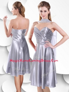 2016 Best Empire Elastic Woven Satin Silver Homecoming Dress with Beading and Ruching
