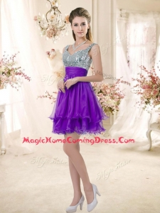 2016 Best Straps Short Purple Homecoming Dresses with Sequins