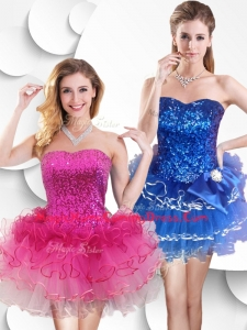 2016 Hot Sale Short Strapless Homecoming Dress with Sequins and Ruffles