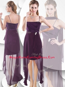 2016 Latest Spaghetti Straps High Low Homecoming Dress in Burgundy