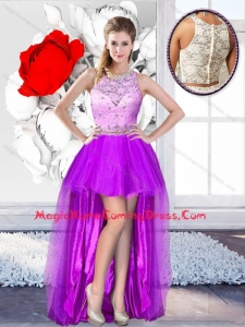 2016 Pretty High Low Scoop Homecoming Dresses with Beading