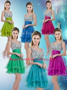 2016 Pretty Straps Short Homecoming Dresses with Sequins for Fall