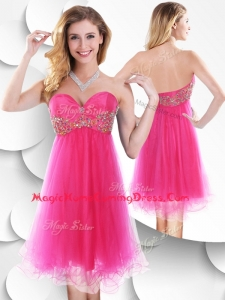 2016 Pretty Sweetheart Hot Pink Short Homecoming Dress with Beading