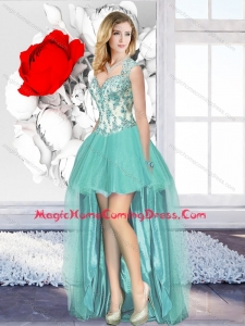 Casual Aqua Blue High Low Cheap Homecoming Dresses with Appliques