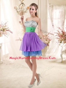 Casual Sweetheart Multi Color Short Homecoming Dresses with Sequins