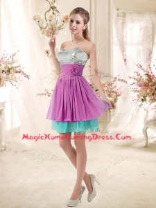 Casual Sweetheart Sequins and Belt Homecoming Dresses in Multi Color
