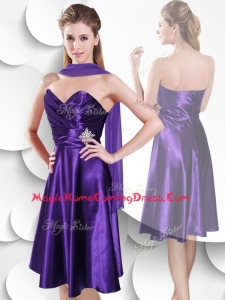 Casual Empire Sweetheart Elastic Woven Satin Homecoming Dress with Beading and Ruching