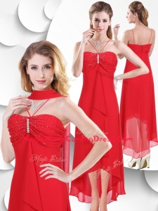 Casual Spaghetti Straps High Low Red Homecoming Dress with Beading