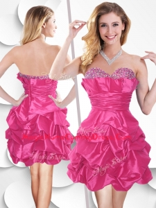 In Stock Hot Pink Taffeta Homecoming Dress with Beading and Bubles