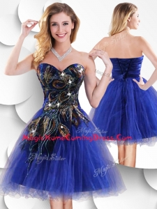 In Stock Short Peacock Blue Homecoming Dress with Beading and Appliques
