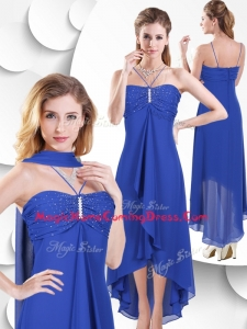 In Stock Spaghetti Straps High Low Blue Homecoming Dress with Beading