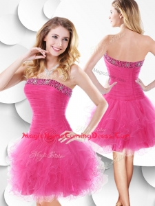 In Stock Strapless Hot Pink Homecoming Dress with Beading and Ruffles