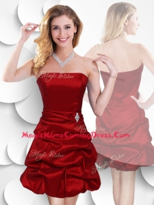 In Stock Strapless Taffeta Wine Red Homecoming Dress with Bubles