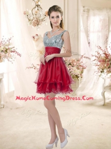 In Stock Straps Sequins and Ruching Homecoming Dresses in Wine Red