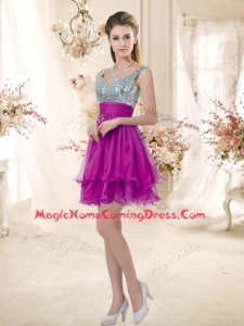 In Stock Straps Short Homecoming Fuchsia Dresses with Sequins