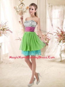 In Stock Sweetheart Short Homecoming Dresses with Sequins and Belt
