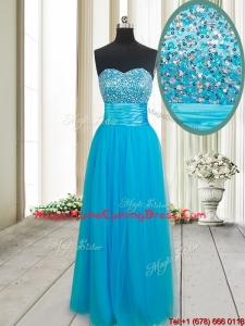 2017 Gorgeous Empire Sweetheart Tulle Beaded Bust Homecoming Dress in Baby Blue