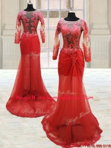Popular Scoop Laced Column Brush Train Red Homecoming Dress with Long Sleeves