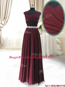 2017 Discount Two Piece Cap Sleeves Burgundy Homecoming Dress with Beaded Decorated Waist