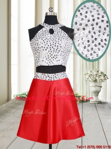2017 Discount Two Piece Halter Top Red and White Short Homecoming Dress with Beaded Bodice