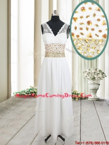 2017 Elegant Beaded and Laced V Neck Chiffon White Homecoming Dress in Ankle Length