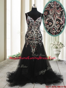 2017 Fashionable Spaghetti Straps Beaded Tulle Black Homecoming Dress with Brush Train