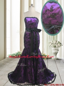 2017 Hot Sale Laced and Bowknot Strapless Black and Purple Homecoming Dress with Brush Train