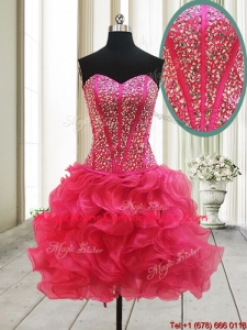2017 New Arrivals Visible Boning Beaded Bodice and Ruffled Hot Pink Homecoming Dress