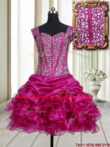 2017 Pretty Visible Boning Straps Beaded Bodice and Ruffled Homecoming Dress in Fuchsia