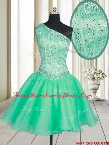 2017 Visible Boning One Shoulder Beaded Bodice Organza Homecoming Dress in Turquoise