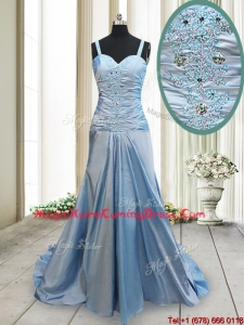 Best Column Straps Taffeta Zipper Up Homecoming Dress in Light Blue