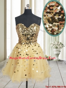 Best Selling Sequined Bodice Zipper Up Organza Homecoming Dress in Champagne
