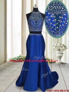 Fashionable Two Piece Criss Cross Brush Train Royal Blue Homecoming Dress with Beading