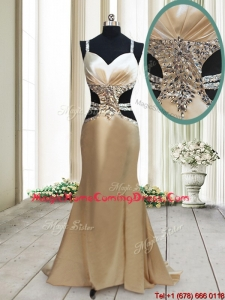 Gorgeous Cut Out Waist Mermaid Straps Criss Cross Homecoming Dress in Elastic Woven Satin