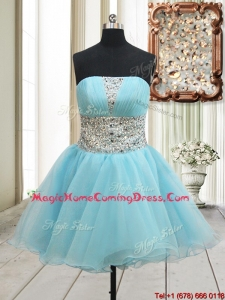 Lovely A Line Strapless Zipper Up Aqua Blue Homecoming Dress with Beading