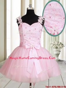 New Applique Decorated Straps Baby Pink Short Homecoming Dress with Beading and Bowknot