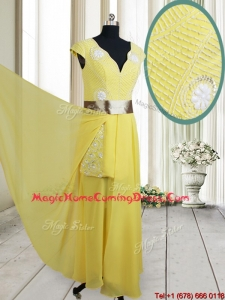 Popular Beaded and Belted V Neck Chiffon Yellow Homecoming Dress with Cap Sleeves