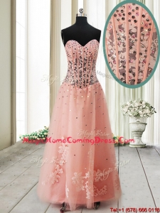 Pretty Visible Boning See Through Applique and Beaded Long Homecoming Dress in Tulle